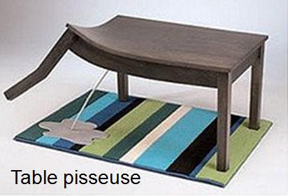 invention insolite : table pisseuse